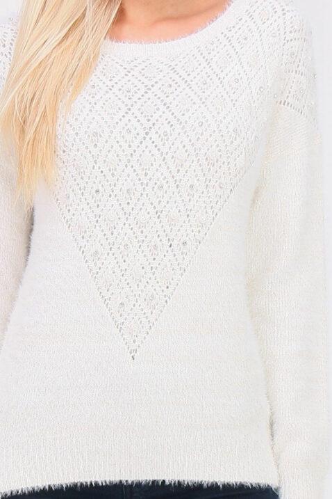 Weißer Damen Strickpullover mit Perlen, Strass, Löcherdetails, Glitzereffekt, Fransenoptik von ELENZA BY L&L - Detailansicht