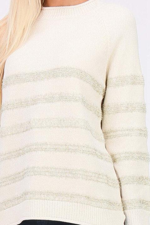 Weißer ecru Damen Strickpullover in Streifenoptik, Fransen- & Metalleffekt von ELENZA BY L&L - Detailansicht