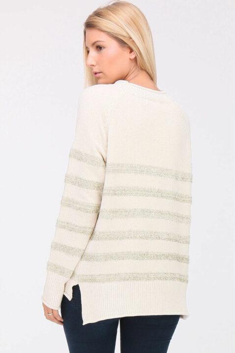 Weißer ecru Damen Strickpullover in Streifenoptik, Fransen- & Metalleffekt von ELENZA BY L&L - Rückenansicht
