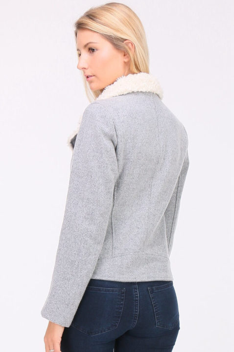 Graue Damen Fleecejacke mit Kunstfellkragen - Reißverschluss asymmetrisch von Elenza by L&L - Rückenansicht