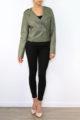 Khaki grüne Damen Bikerjacke in Leder-Optik mit Nieten - Kunstlederjacke von Fascinate - Ganzkörperansicht