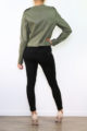 Khaki grüne Damen Bikerjacke in Leder-Optik mit Nieten - Kunstlederjacke von Fascinate - Rückenansicht