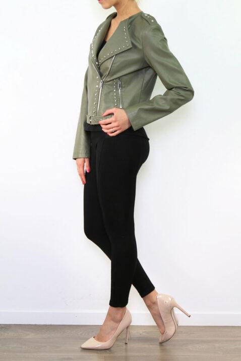 Khaki grüne Damen Bikerjacke in Leder-Optik mit Nieten - Kunstlederjacke von Fascinate - Seitenansicht