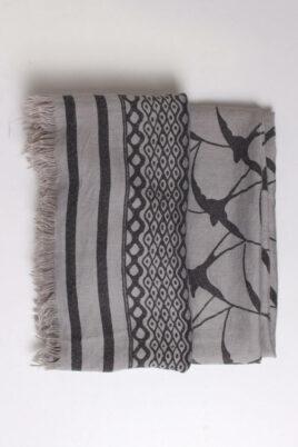 Grau anthrazit Damen Schal gefranst & gemustert aus Viskose von Fanli - Detailansicht
