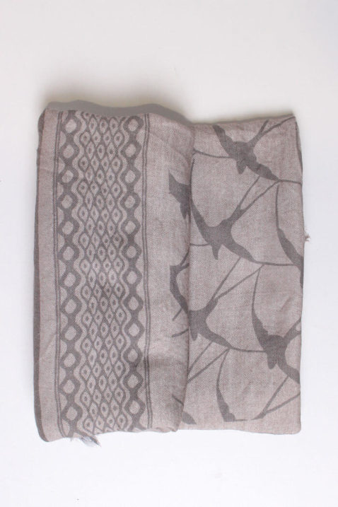 Taupe brauner Damen Schal gefranst & gemustert aus Viskose von Fanli - Detailansicht
