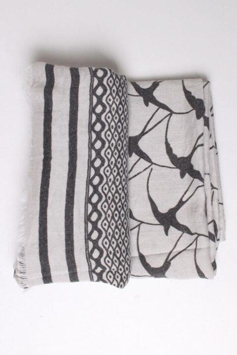 Fanli weißer ecru Damen Schal gefranst & gemustert aus Viskose - Detailansicht