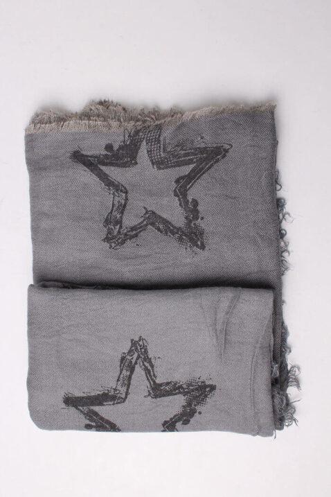 Anthrazit dunkelgrauer Damen Schal mit Sternen-Muster gefranst aus Viskose von Fanli - Detailansicht