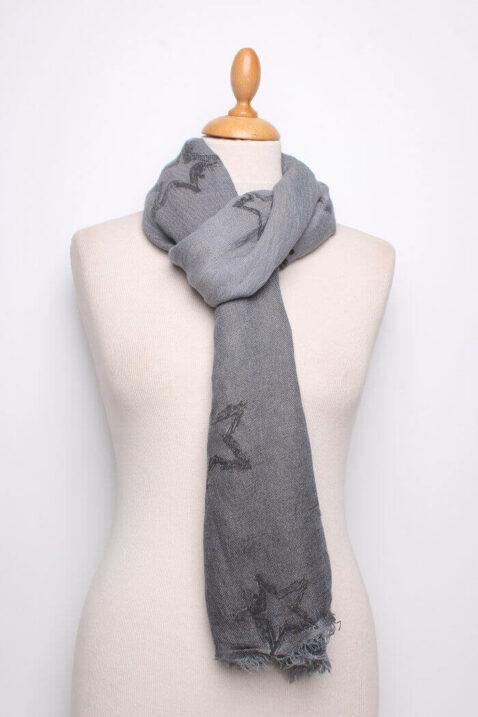 Anthrazit dunkelgrauer Damen Schal mit Sternen-Muster gefranst aus Viskose von Fanli - Ganzansicht