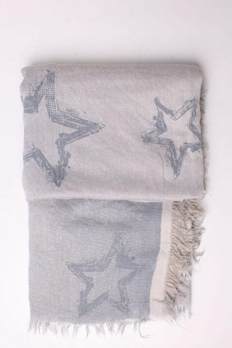 Steingrauer Damen Schal mit Sternen-Muster gefranst aus Viskose von Fanli - Detailansicht