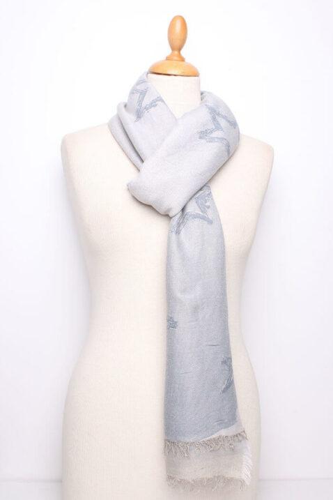 Steingrauer Damen Schal mit Sternen-Muster gefranst aus Viskose von Fanli - Ganzansicht