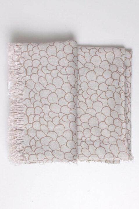 Beiger taupe Damen Schal mit Allover-Muster und Fransen aus Viskose von Fanli - Detailansicht