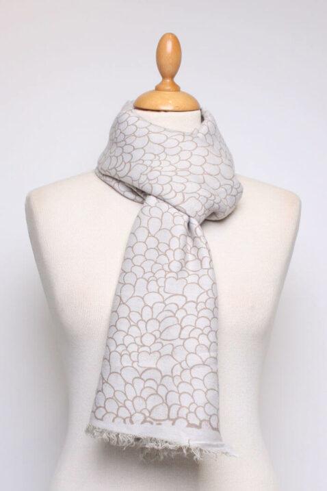 Beiger taupe Damen Schal mit Allover-Muster und Fransen aus Viskose von Fanli - Ganzansicht