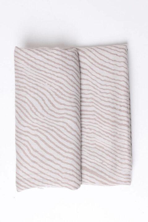 Beiger taupe Damen Schal mit Wellenmuster & Fransen aus Viskose von Fanli - Detailansicht