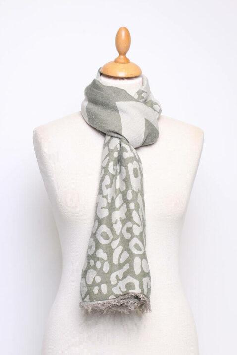 Khaki grau grüner Damen Schal mit Mustern & Fransen aus Viskose von Fanli - Ganzansicht