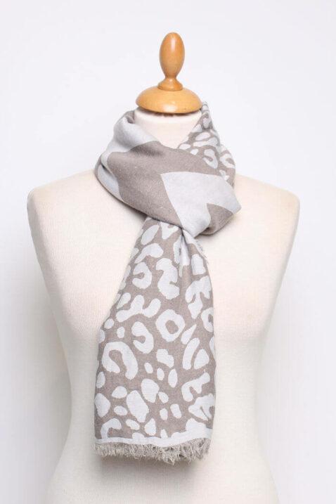 Taupe beige brauner Damen Schal mit Mustern & Fransen aus Viskose von Fanli - Ganzansicht