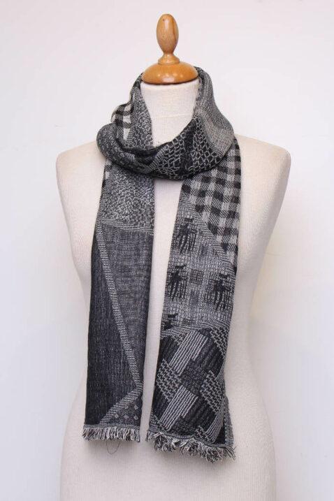 Schwarzer Damen Schal mit Muster & Fransen aus Viskose von Fanli - Ganzansicht