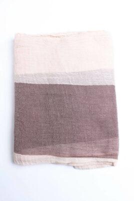 Braun beiger leichter Damen Schal in Streifenoptik - zweifarbig aus Baumwolle & Fransen von Fanli - Detailansicht