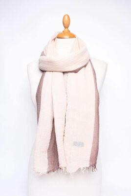 Fanli braun beiger leichter Damen Schal in Streifenoptik – zweifarbig aus Baumwolle & Fransen – Ganzansicht