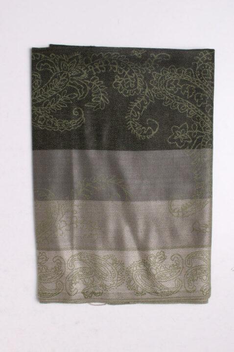 Grüner Damen Schal mit Streifen, Muster & Fransen von Fanli - Detailansicht