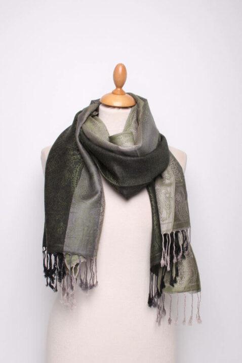 Grüner Damen Schal mit Streifen, Muster & Fransen von Fanli - Ganzansicht