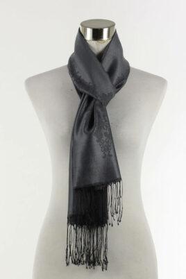Fanli schwarzer Damen Schal mit Muster & Fransen – Ganzansicht