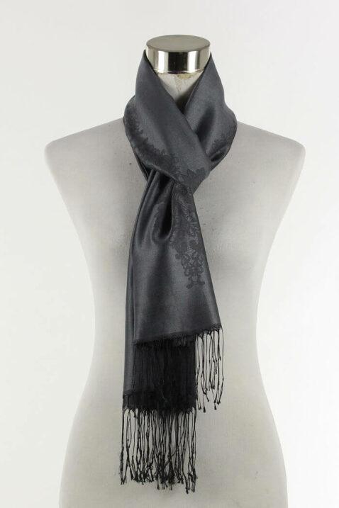 Schwarzer Damen Schal mit Muster & Fransen von Fanli - Ganzansicht