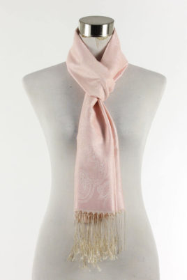 Fanli rosa Damen Schal mit Muster & Fransen – Ganzansicht