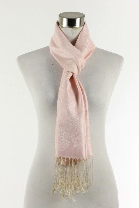 Rosa Damen Schal mit Muster & Fransen von Fanli - Ganzansicht