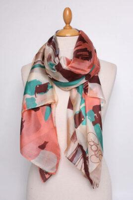 Fanli bunter mehrfarbiger Damen Seidenschal mit Muster aus Seidensatin – Ganzansicht