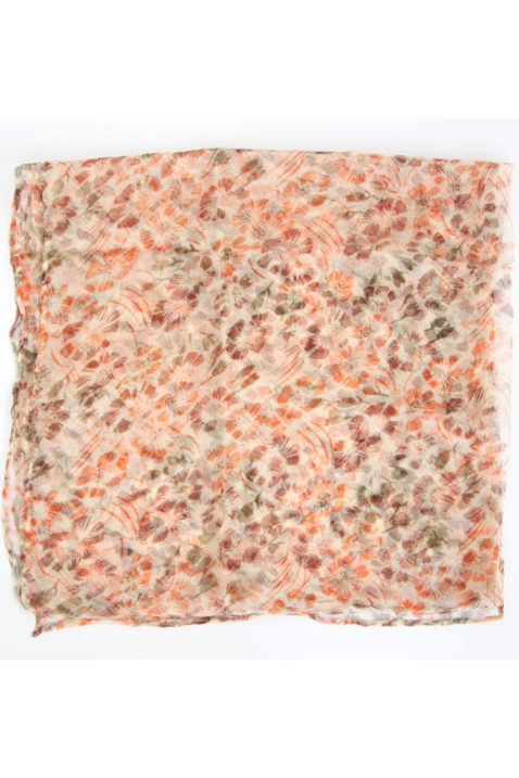 Orangener Damen Seidenschal in floraler Optik - Chiffon Seidenschal von Fanli - Detailansicht