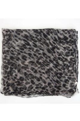 Grau schwarzer Damen Seidenschal mit Leopardenmuster - Chiffon Seidenschal von Fanli - Detailansicht