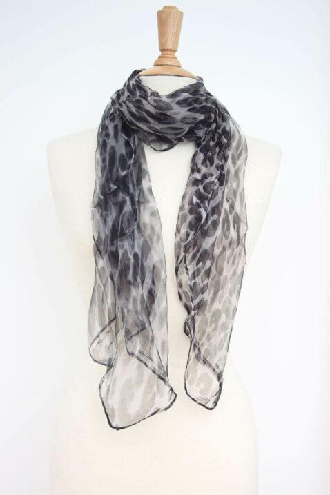 Grau schwarzer Damen Seidenschal mit Leopardenmuster - Chiffon Seidenschal von Fanli - Ganzansicht