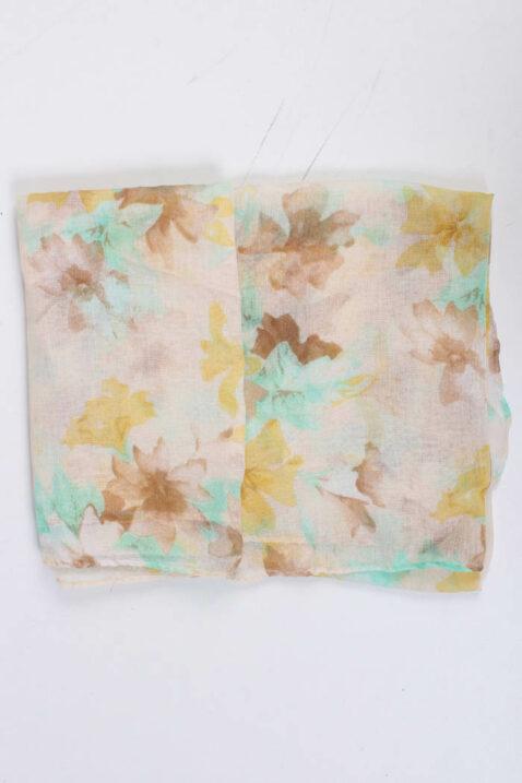 Beiger mehrfarbiger Schal in floraler Optik - Modeschal aus Polyester von Fanli - Detailansicht