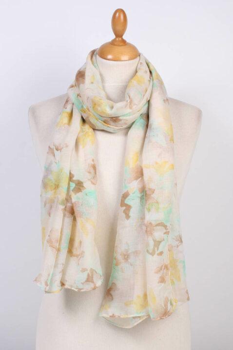 Beiger mehrfarbiger Schal in floraler Optik - Modeschal aus Polyester von Fanli - Ganzansicht