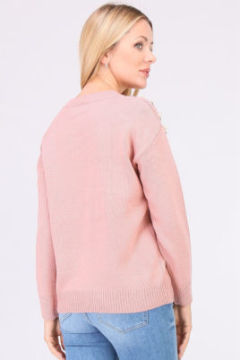 Rosa Damen Pullover mit Perlen & Metallapplikationen von JUS DE POM & CO - Rückenansicht