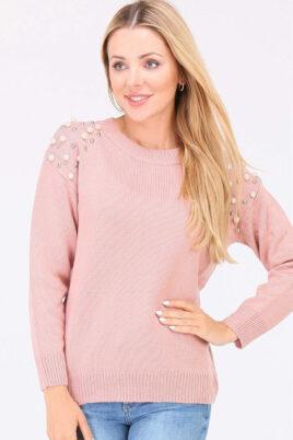 JUS DE POM & CO rosa Damen Pullover mit Perlen & Metallapplikationen – Vorderansicht