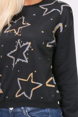 Schwarzer Damen Pullover Sweater mit Sternen & Strassapplikationen von JUS DE POM & CO - Detailansicht