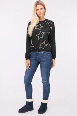 Schwarzer Damen Pullover Sweater mit Sternen & Strassapplikationen von JUS DE POM & CO - Ganzkörperansicht