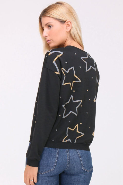 Schwarzer Damen Pullover Sweater mit Sternen & Strassapplikationen von JUS DE POM & CO - Rückenansicht