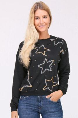 JUS DE POM & CO schwarzer Damen Pullover Sweater mit Sternen & Strassapplikationen – Vorderansicht