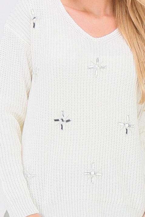 Weißer Damen Pullover Strickpullover mit Strasssteinapplikationen - Vokuhila-Form von JUS DE POM & CO - Detailansicht