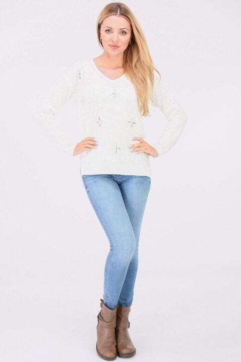 Weißer Damen Pullover Strickpullover mit Strasssteinapplikationen - Vokuhila-Form von JUS DE POM & CO - Ganzkörperansicht
