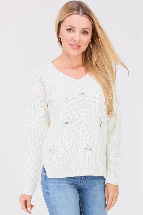 Weißer Damen Pullover Strickpullover mit Strasssteinapplikationen - Vokuhila-Form von JUS DE POM & CO - Vorderansicht