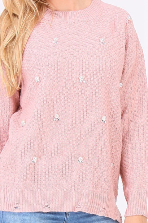 Rosa Damen Pullover Strickpullover mit Perlen, Strass, Löcherdetails, seitliche Schlitze von JUS DE POM & CO - Detailansicht