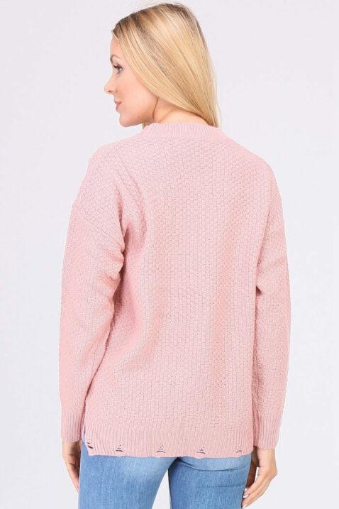 Rosa Damen Pullover Strickpullover mit Perlen, Strass, Löcherdetails, seitliche Schlitze von JUS DE POM & CO - Rückenansicht