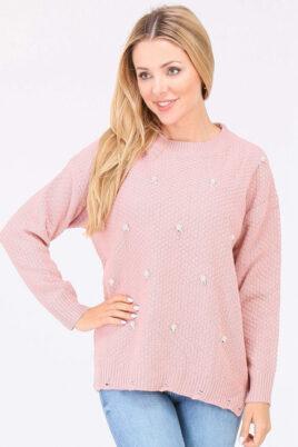 JUS DE POM & CO rosa Damen Pullover Strickpullover mit Perlen, Strass, Löcherdetails, seitliche Schlitze – Vorderansicht