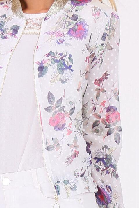 Lila violetter ultraleichter Damen Blouson - Bomberjacke & Sommerjacke von Koumy - Detailansicht