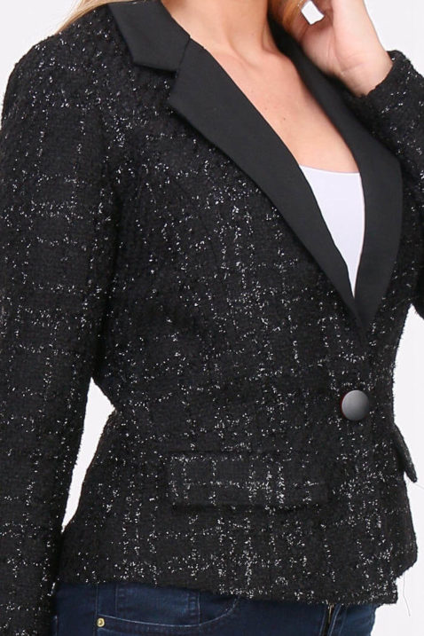 Schwarzer Damen Blazer mit Metallic Effekt - Kurzblazer Business & Casual von Lovie & Co - Detailansicht