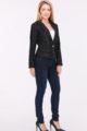 Schwarzer Damen Blazer mit Metallic Effekt - Kurzblazer Business & Casual von Lovie & Co - Ganzkörperansicht