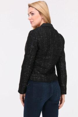Schwarzer Damen Blazer mit Metallic Effekt - Kurzblazer Business & Casual von Lovie & Co - Rückenansicht